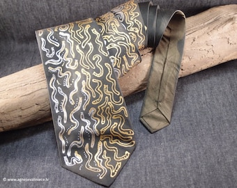 Wide Classic Necktie Made of 100% Silk, Green and Grey Tie With Gold and Silver, Handmade Natural Silk Tie, Tie on Sale