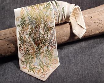 Vintage Beige Silk Tie, Handpainted Classic Men Tie, Elegant Beige and Golden Tie, Sale Tie