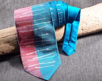 Turquoise and Red Hand Painted Tie, Classic Men Silk Tie, Necktie for Men, Sale Tie