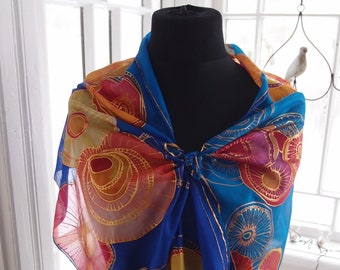 Silk scarf with flowers, blue, gold and orange silk scarf, handmade summer scarf for women, unique gift for women, women scarves