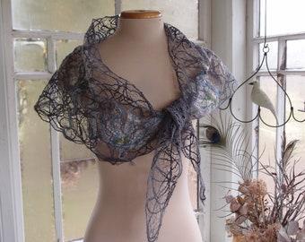 Grey women scarf, summer shawl in crazy wool, Crescent shape scarf for women, pretty women accessory