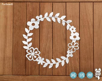 Awesome SVG / PDF Blank Circle Floral Monogram Frame/Wreath | Papercut Template |  Floral Paper Cut Out | Cricut Cameo | Home Decor | Cut File