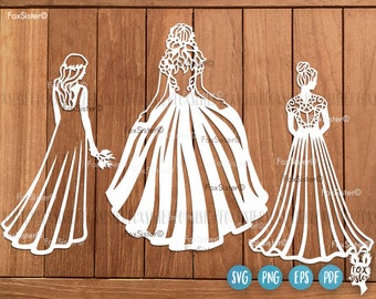 Wedding Dress SVG Cut file Wedding Dress Card Wedding Dress