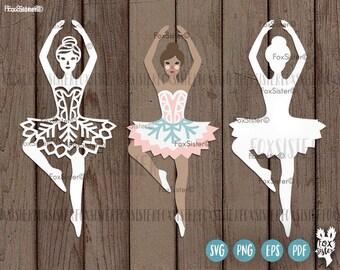 ballerina svg papercut template ballet dancer svg cut file etsy