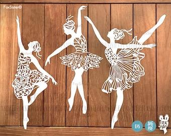 Ballerina SVG Bundle!! 3 Papercut Templates Set 1, Ballet Dancer svg cut files, Ballerina Silhouette, Clipart Vector, Dancing Png, Cricut