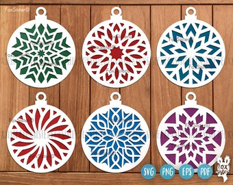 Christmas baubles SVG Bundle SET 16, Christmas svg bundle, Ornament Svg, Christmas tree decoration svg, snowflake svg, Christmas ball svg