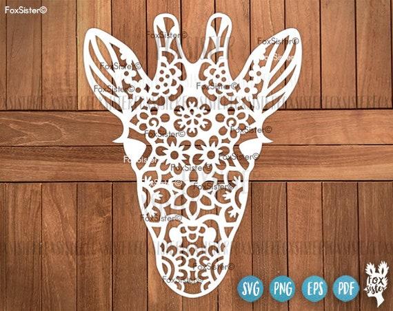 Giraffe Svg Original Giraffe Clipart Floral Svg Giraffe Etsy