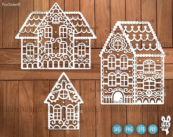 Svg Gingerbread Houses Christmas Svg Files Christmas Village Etsy