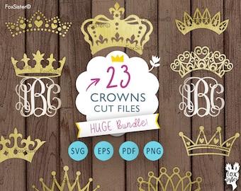Crown SVG  monograms Bundle!! 23 Royal crowns |Tiara Papercut Template | Princess King Silhouette | Cricut, Cameo | cut files | Home Decor