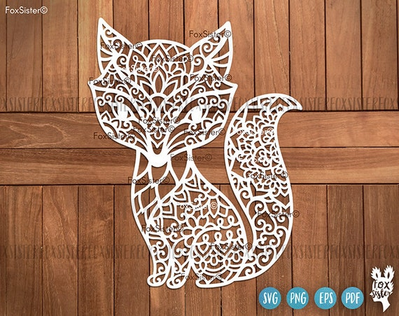 Cute Fox Svg Cut File Clipart Mandala Svg Style Sitting Fox Etsy