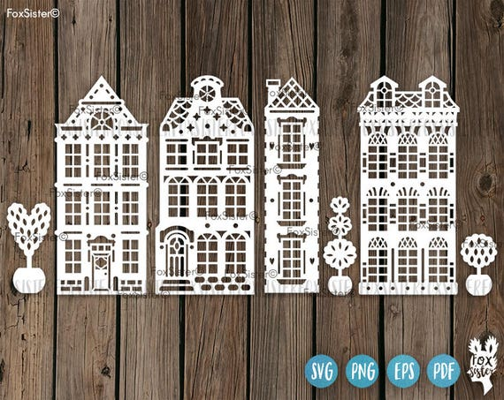 4 Houses Svg Templates Building Cut File Clipart Amsterdam Etsy