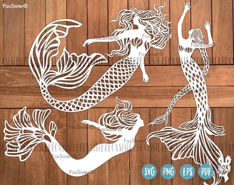 Mermaid Svg Bundle 3 Mermaids Svg Cut Files Little Mermaid