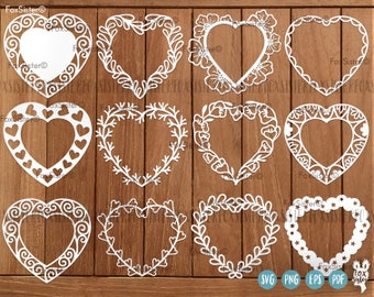 Heart Frame Svg, Monogram Frame Bundle SET 3! 12 svg Blank Wreath Frames | Heart Svg, Hearts Svg | Wedding svg |Valentine SVG | Love svg