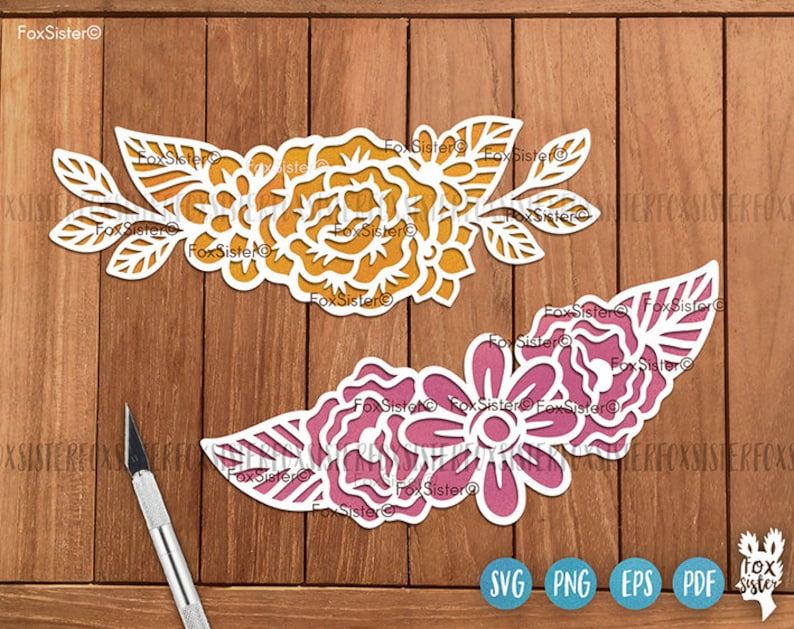 Flower Cut File Clipart Flowers designs Svg Clipart Floral Wreath Svg cut files for Cricut and Silhouette Rose Flower Svg Png files