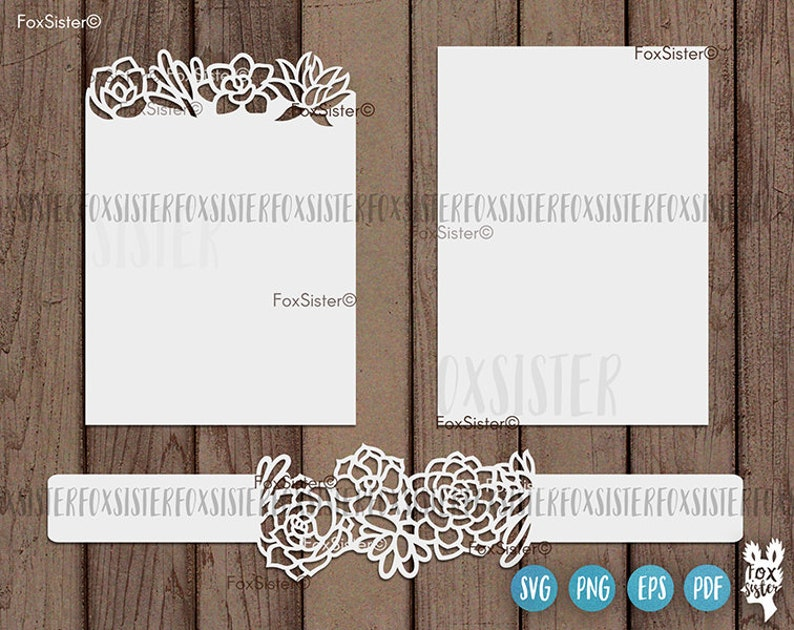 Belly Band Wedding Invitation Svg Cut File Succulents Wreath Border Template Png And Vector Files For Cricut Silhouette