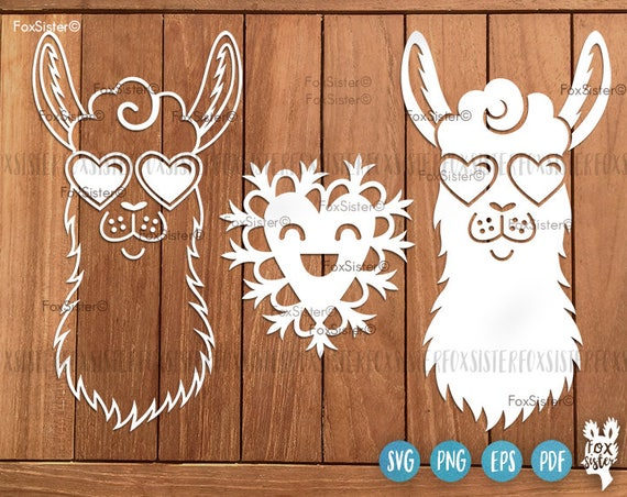 svg cut file Hippie happy Llama SVG Papercut Template Paper Cut file for Cricut heat transfer Funny svg peace glasses Animal