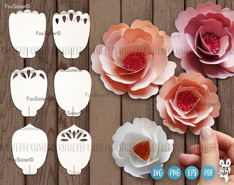 6 Paper Flower Svg Templates In A Bundle For 3d Flowers Flower Petals Svg Diy Paper Flowers Digital Svg Png Files For Cricut Silhouette