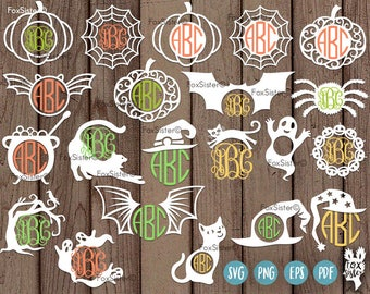21 Halloween Monogram Frames SVG Bundle, Cut files, Frame, Spider Web, Pumpkin, Cat, Cauldron, Witch Hat Template   Spooky   Cricut Cameo