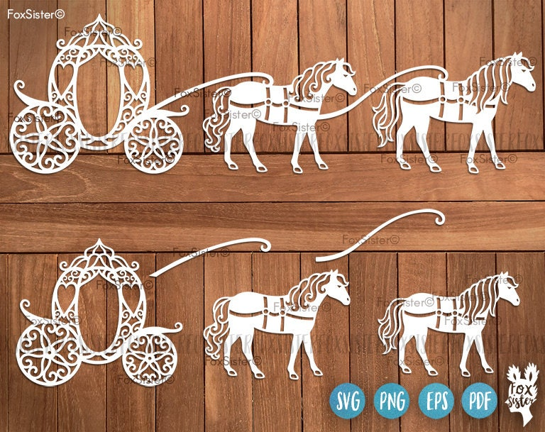 princess carriage svg cut file template cinderella carriage