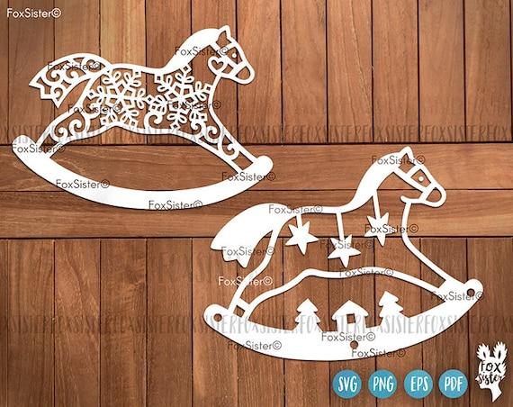 Rocking Horse Svg Template Christmas Svg Bundle Horse Etsy