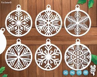 Christmas baubles SVG Bundle SET 19, Ornaments svg, Christmas tree decoration svg, snowflake svg, Christmas ball svg, layered ornament svg