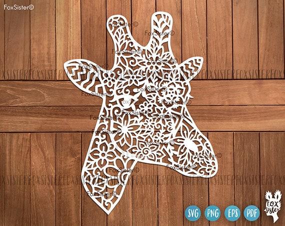 Floral Giraffe Png Svg Vector Detailed Designs Africa Svg Etsy