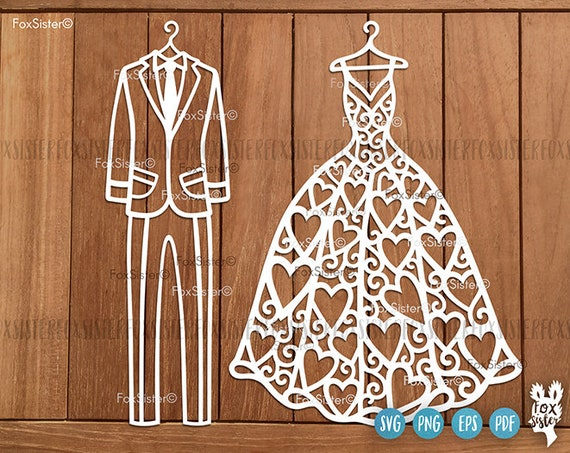 Wedding Svg, Bridal Dress Svg, Dress Svg, Mr and Mrs Svg, Suit Svg, Bridal  Dress Clipart, Wedding Cut File, Cricut Silhouette, Svg Bundle