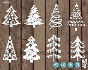 Christmas trees svg Bundle SET 1! 8 svg cut files, Christmas tree cut file svg, Christmas Svg, New Year svg, Winter Svg, Cricut, Silhouette