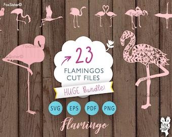 HUGE Flamingo svg Bundle!! 23 Flamingo birds | Paper & Vinyl cut Template | Bird Silhouette | Cricut, Cameo | cut files | Home Decor