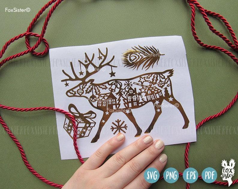 Animal village Paper Cut file winter svg |deer antlers Reindeer Christmas Deer present for Cricut Deer svg Papercut Template