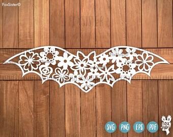 Bat SVG Floral Cut file, Halloween Svg, Bat Clipart, Cute Bat man, Bats Svg, Halloween Clipart, Animal Svg, Flowers Svg   Cricut Silhouette