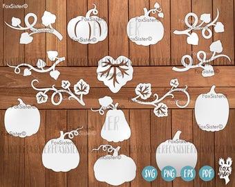 Pumpkin Svg Bundle, Halloween Svg, Leaf Svg, Pumpkin Svg, Pumpkin Clip art, Leaves Svg, Thanksgiving svg, Fall Svg, Cricut Silhouette