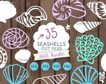 Sea Shells SVG Bundle!! 35 Seashells svg, Beach svg, Ocean Cut File | Shell Papercut Template | Silhouette | Cricut | cut files | Home Decor