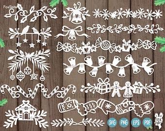 Christmas SVG Collection! 14 Designs   Christmas decorations svg  Bells svg, snowflake svg   Holly svg   Santa svg   Cricut   Home Decor
