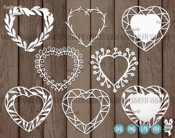 63f574fa8534 Heart Monogram Wreath SVG Bundle SET 1 Heart Cut File 8