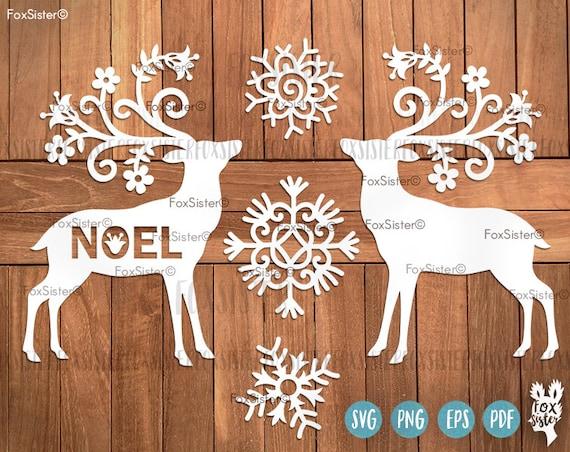 Svg Reindeer Deer Svg Cut File Template Christmas Deer Etsy