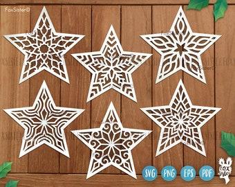 Stars svg Bundle SET 12 for Cricut and Silhouette, Christmas ornaments svg, cute stars svg, celestial svg, Star vector clipart, digital file