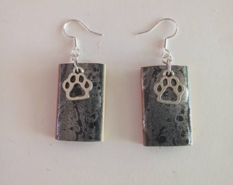 Earrings abstract resin design on cypress wood blocks which retain the scent of your favourite essential oil.