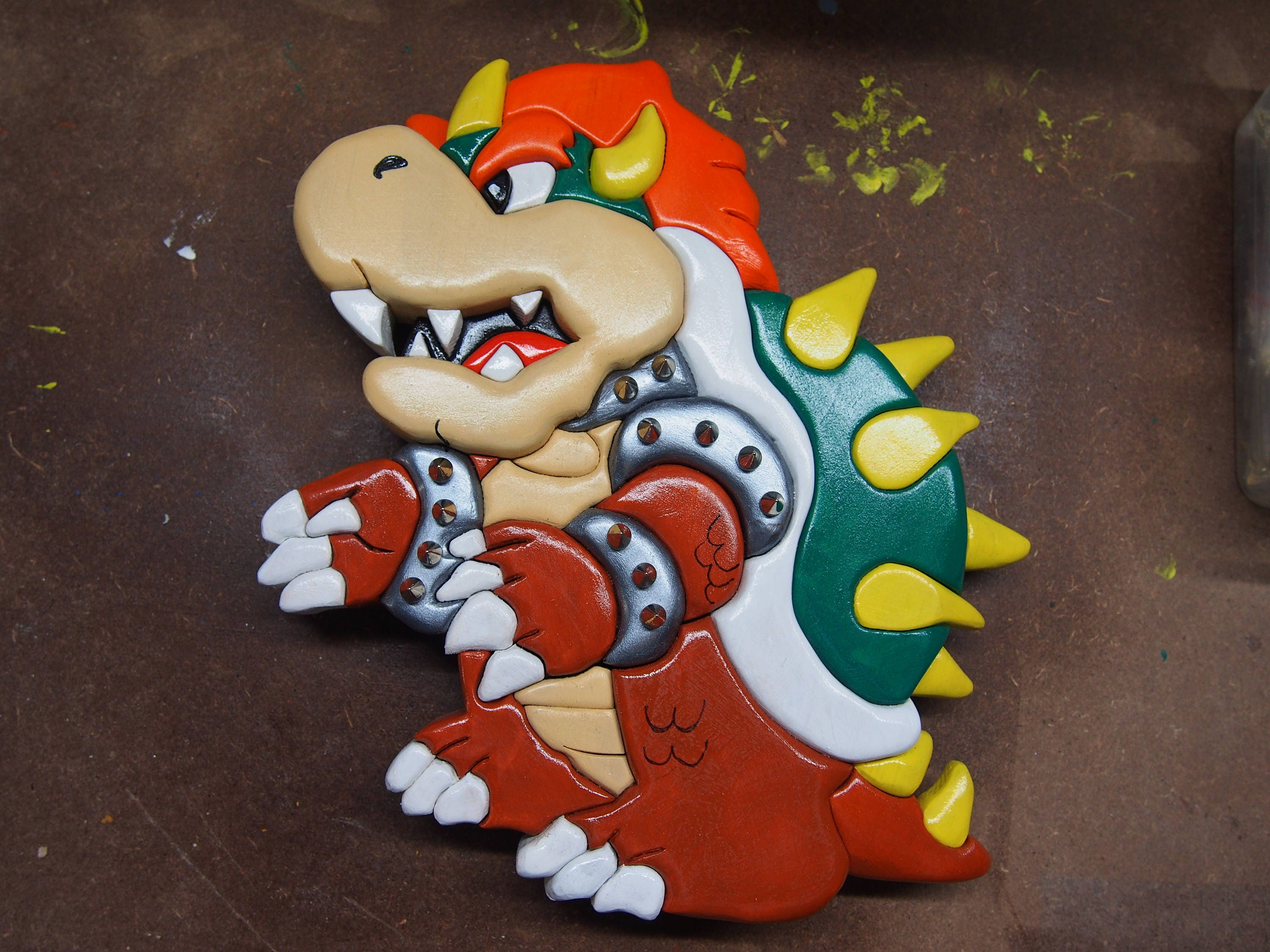 Bowser 3D segmented wood intarsia pattern for DIY from ...