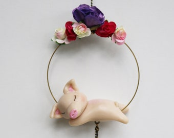 Decorative mobile, flower crown and my pig, floral wall decoration