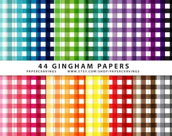 """Gingham Digital Paper Pack 12"""" x 12"""" Commercial and Personal Use - rainbow basic printable 44 sheets scrapbook INSTANT DOWNLOAD"""