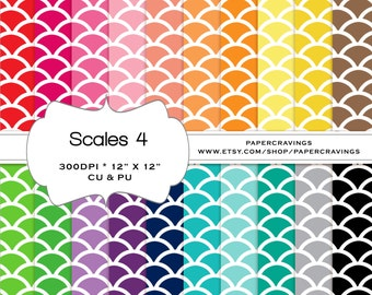 """Scales Digital Paper Pack 12"""" x 12"""" Nautical Preppy Commercial Personal Use rainbow printable 20 INSTANT DOWNLOAD invitatiion scrapbooking"""