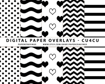 Digital Paper Overlay Paper Template Chevron Polka Dot wavy lines hearts Stripes CU4CU Commercial Use No Credit Pattern Photoshop PSD png