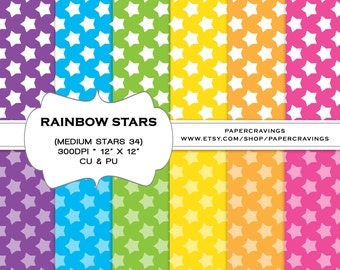 """Rainbow Digital Paper Pack 12"""" x 12"""" Commercial and Personal Use multicolored girl printable stars ombre 2 tone INSTANT DOWNLOAD"""