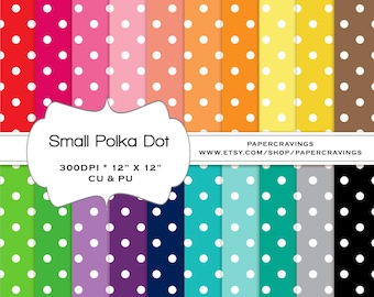 """Polka Dot Small Digital Paper Pack 12"""" x 12"""" Commercial and Personal Use rainbow - printable 20 sheets pinstripes INSTANT DOWNLOAD (200)"""