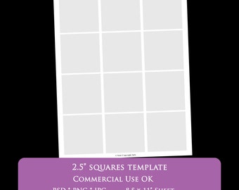 """2.5 inch square digital collage sheet template 8.5 x 11"""" party printable template psd png Commercial Use Personal - printable 2"""" bottlecap"""