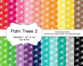 """Palm Trees 2 Digital Paper Pack 12"""" x 12"""" Preppy Commercial Personal Use rainbow printable 20 INSTANT DOWNLOAD invitatiion scrapbooking"""