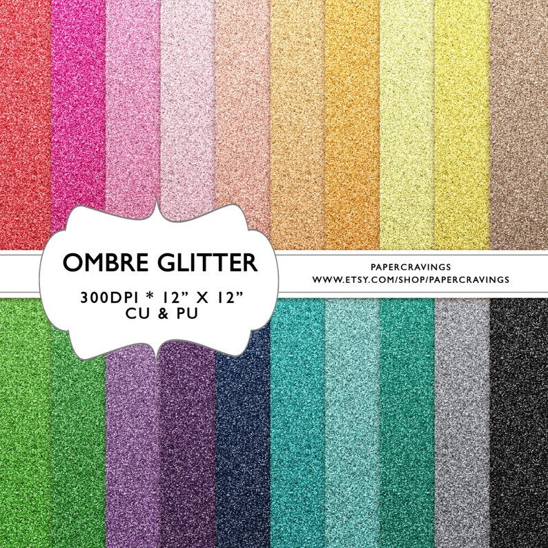 Glitter Digital Paper ombre 12 x 12 Commercial & image 0