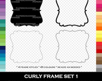 Curl Frame Clipart - Label - Tag - Digital Frame Clip Art - PNG - Digital Scrapbooking - Digital Clip Art Commercial Use - Printable