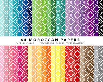 """Moroccan Quatrefoil Digital Paper Pack 12"""" x 12"""" Commercial and Personal Use Allowed rainbow printable 44 sheets trellis INSTANT DOWNLOAD"""